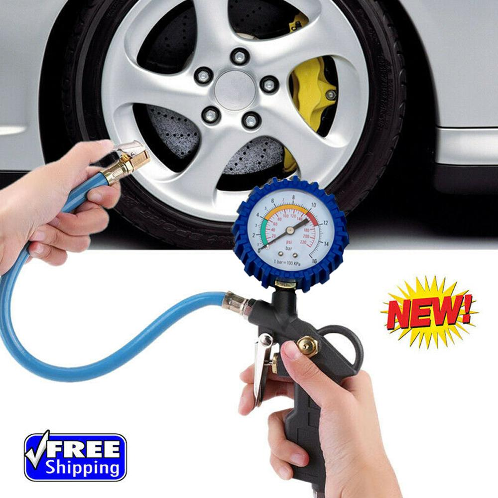 Car Bike Motor Tire Inflator With Pressure Gauge Tire Gauge Inflator Air Compressor 220PSI Tire Tester Monitoring System Gauge