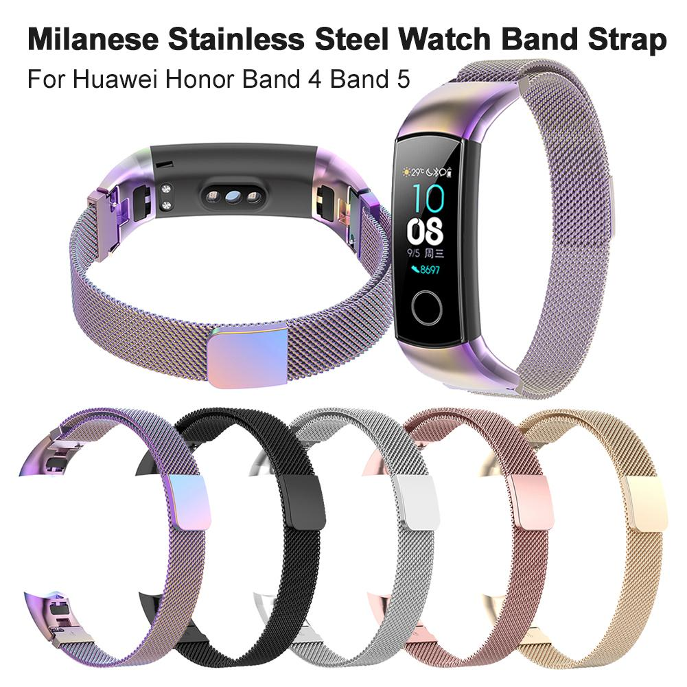 Magnetic Milanese Stainless Steel Watch Band Luxury Wristband Band Strap For Huawei Honor Band 4 Band 5 Strap Smart Bracelet#CO|Smart Accessories| |  - title=