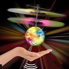 Мини-Дрон, Радиоуправляемый вертолет, летающий шар, летающий игрушечный шар, сверкающий светодиодный Квадрокоптер, Дрон, Летающий вертолет, детские игрушки