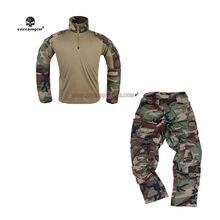 Emersongear woodland g3 tático combate caça uniforme airsoft militar do exército gen3 calças camisa dos homens treinamento ao ar livre conjunto