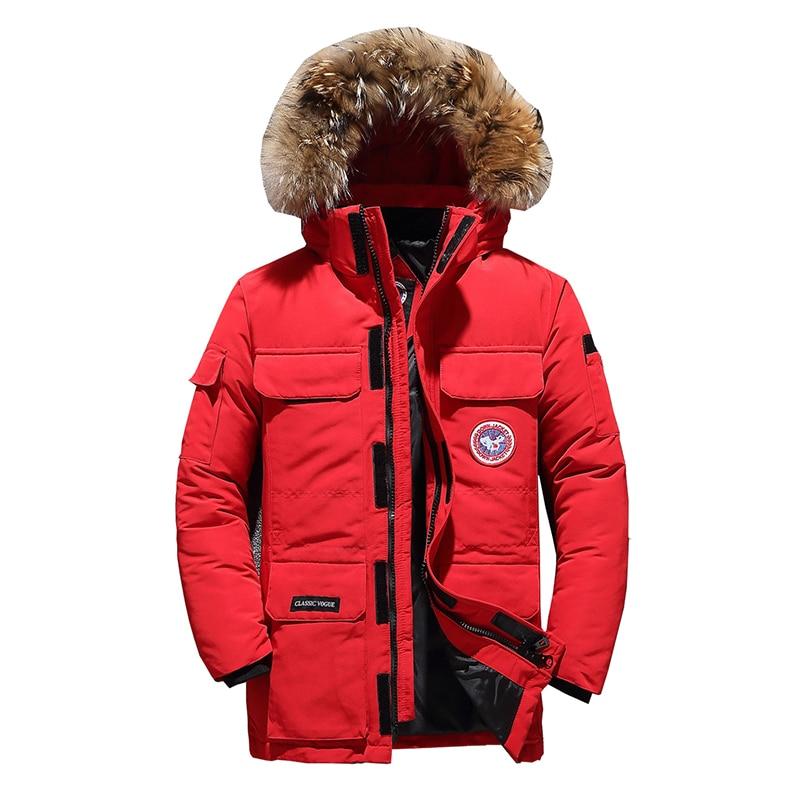 90%Down Jackets Men Winter Jacket Men Fashion Thick Warm Parkas Fur White Duck Down Coats Casual Man Waterproof Down Jackets 165