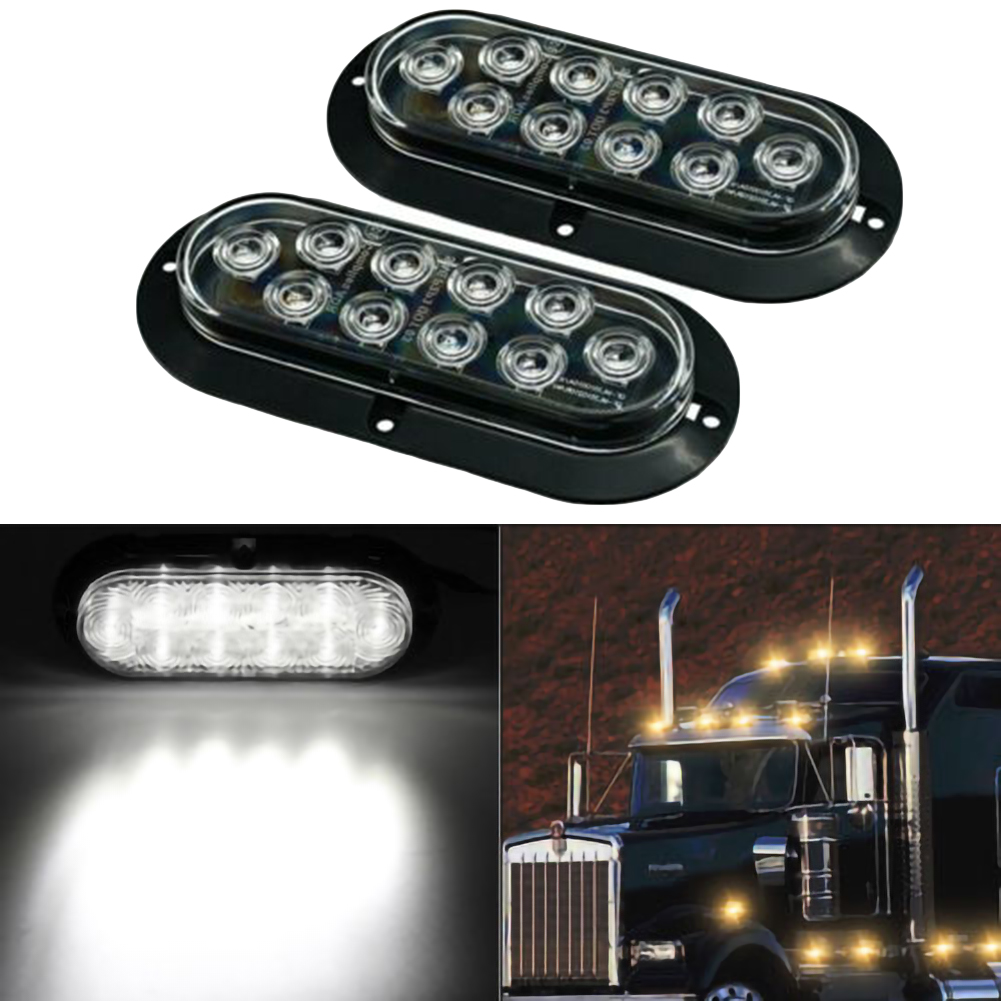 """Pair 10 LED 6/"""" Red Oval Mount Marker Tail Light For Car Truck Trailer"""