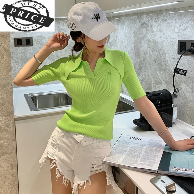 ladies quality 2021 polo Summer shirt women shorts short sleeve white solid cropped polo shirts mujer streetwear