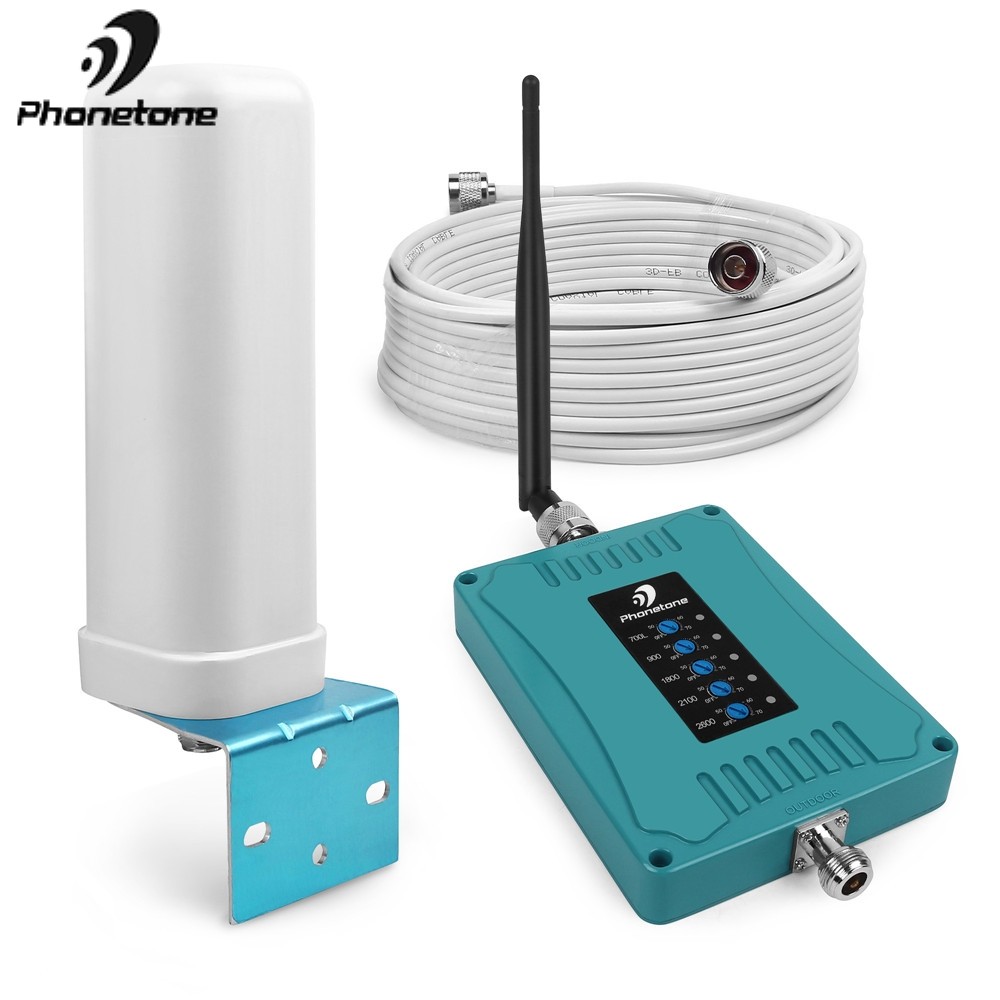 Five Band 700/900/1800/2100/2600MHz Cellular Signal Booster 70dB Mobile Phone 2G 3G 4G Repeater Amplifier With Omni Antenna Set