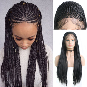Charisma Braided Wigs Synthetic Lace Front Wig Heat Resistant Fiber Braided Box Braids Wig With Baby Hair Wigs for Black Women(China)