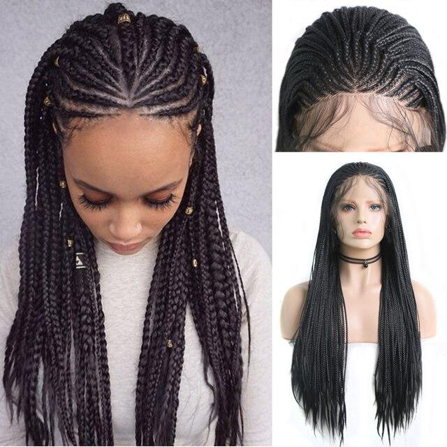 Charyzma 13X6 plecione peruki syntetyczna koronka peruka front czarny kolor pole warkocze pleciony peruka z dzieckiem włosy peruki dla czarnych kobiet