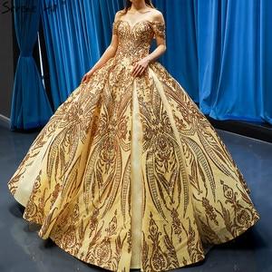 Image 1 - Robe de mariée dorée, robe de mariée luxueuse, sans manches, à épaules dénudées, avec paillettes, haut de gamme, HM66709, modèle 2020