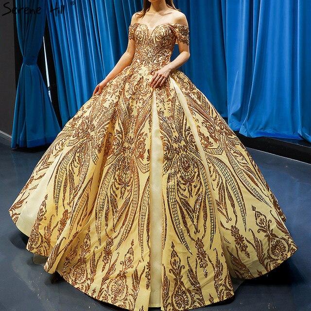 Robe de mariée dorée, robe de mariée luxueuse, sans manches, à épaules dénudées, avec paillettes, haut de gamme, HM66709, modèle 2020