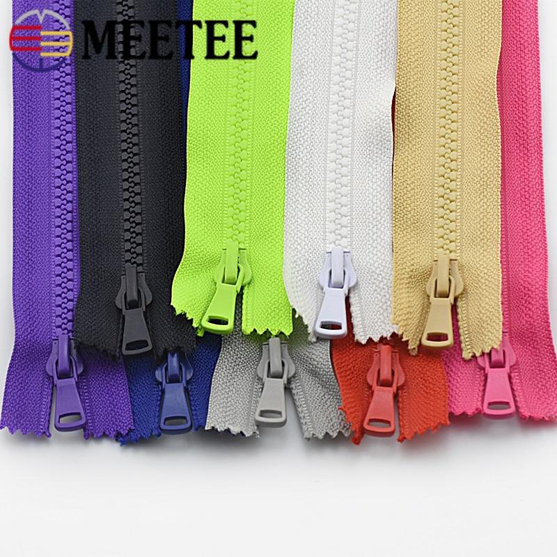Meetee 5/10 pçs 15/20/25cm 5 # resina zíper fechado-final roupas bolso zip diy travesseiro carteira bolsa vestuário costura acessório za007