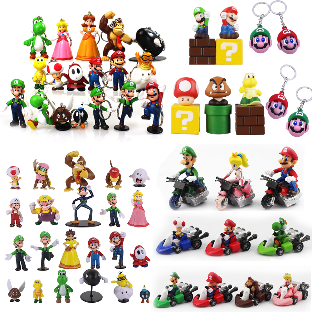 3-7cm Super Mario Bros PVC Action Figures Toys Yoshi Peach Princess Luigi Shy Guy Odyssey Donkey Kong Model Dolls