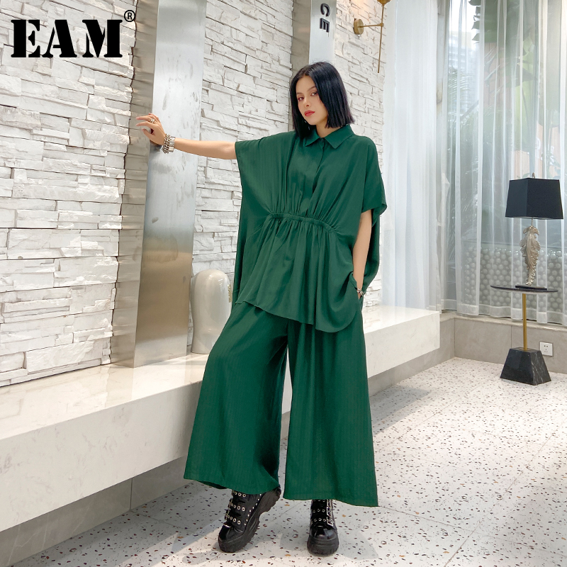 [EAM] Wide Leg Pants Pleated Two Piece Suit New  Lapel Half Sleeve Black Loose Fit Women Fashion Tide Spring Summer 2020 1U200
