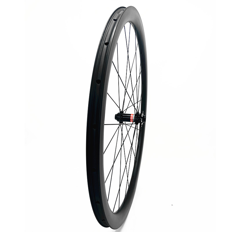 700c carbon road wheel front wheel 38x26mm Asymmetry tubeless disc road bike wheel D411SB 100x12 Central lock carbon wheels