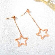 Oumart женские модные темпераментные серьги, индивидуальная пятиконечная звезда, дикая Длинная кисточка, титановая сталь розового золота цвета