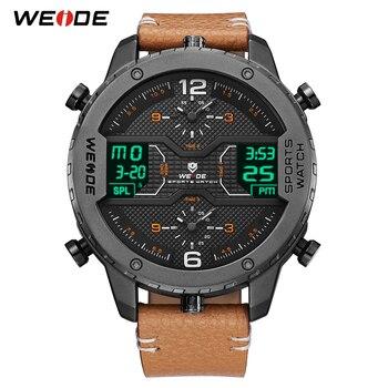 WEIDE men's Sports watch Analog Hands Digital Calendar Quartz Brown Leather Strap Wrist watches reloj hombre 2019 Military Clock