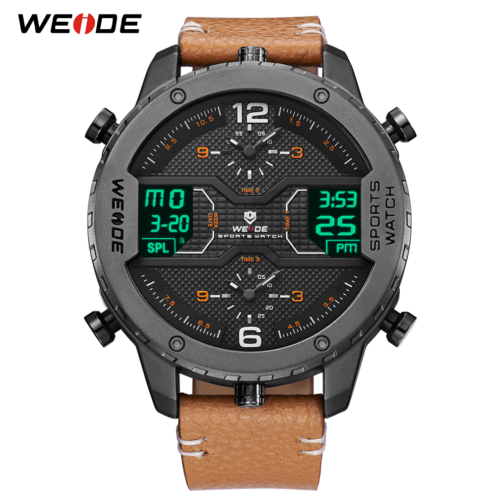 WEIDE Men's Sports Analog Hands Digital Numeral Calendar Quartz Movement Brown Leather Strap Wristwatches 2019 Military Clock