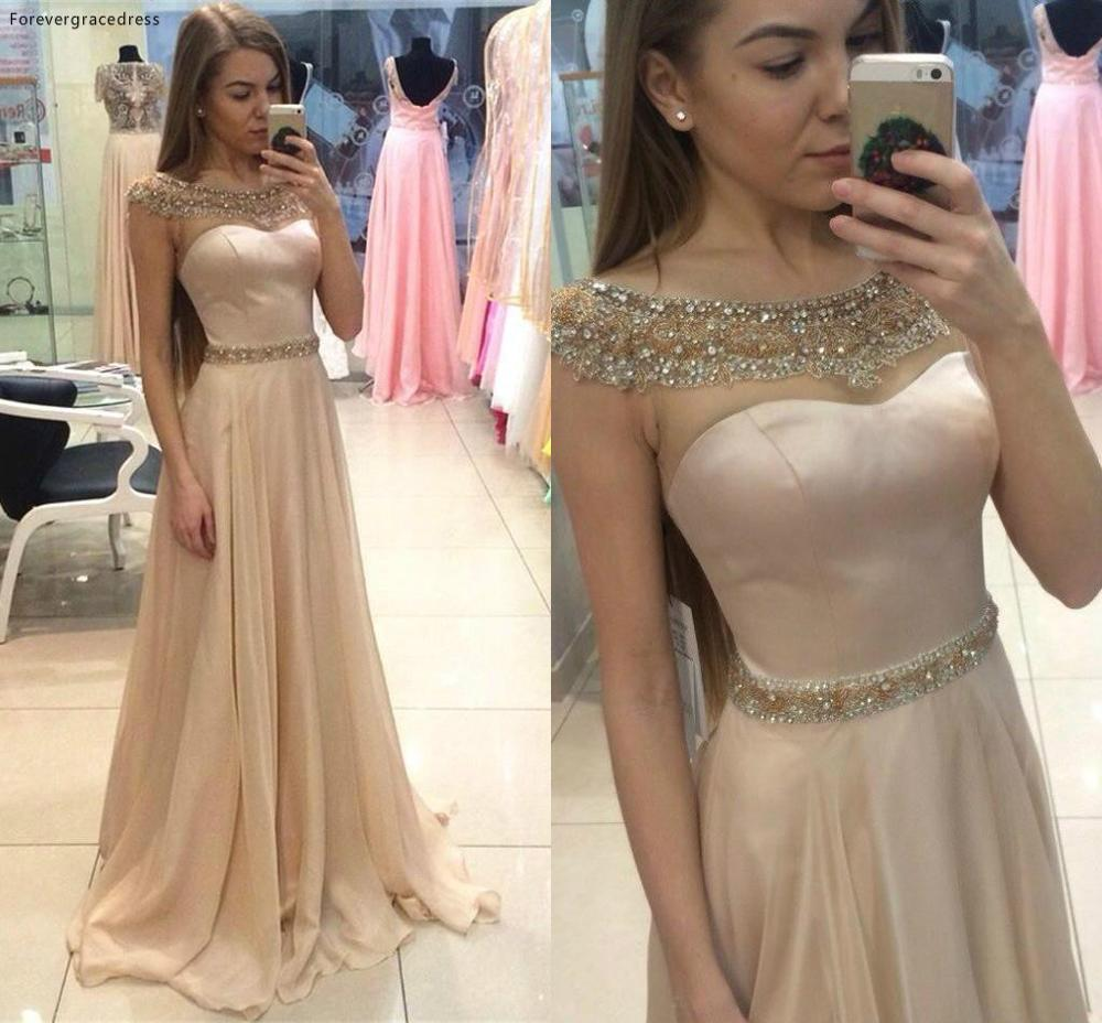 Sheer Beaded Collar Prom Dress Cheap Cap Sleeves Chiffon Formal Summer Holidays Wear Evening Party Gown Custom Made Plus Size