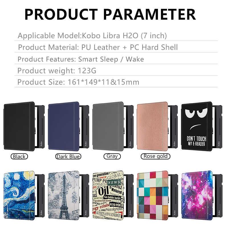 สำหรับAll-New Kobo Libra H2O 7นิ้ว2019 E-Booksพรีเมี่ยมPUหนังHard Shell Cover sleep/Wakeอัตโนมัติ