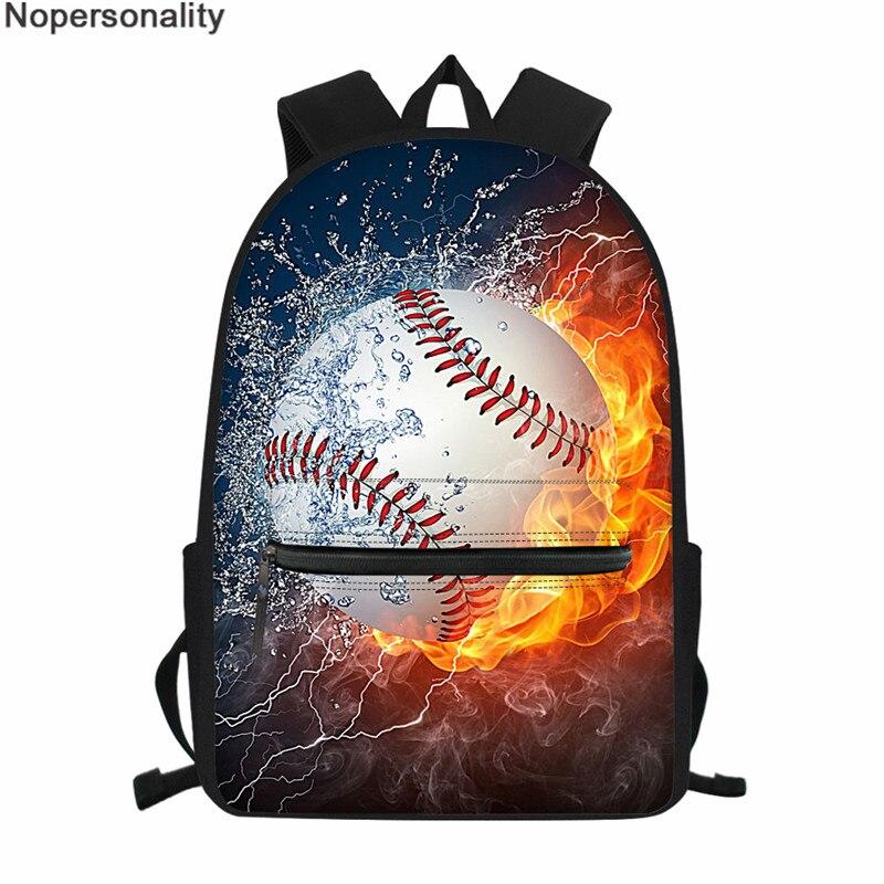 Nopersonality Backpack For Boy 3D Baseball Prints School Bags Teenage Book Bags High Quality Travel Bags Men Satchel Mochilas