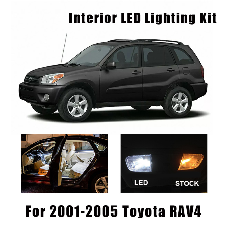 8 Bulbs White Canbus Interior LED Car Ceiling Light Kit Fit For Toyota RAV4 2001 2002 2003 2004 2005 Map Dome Cargo License Lamp