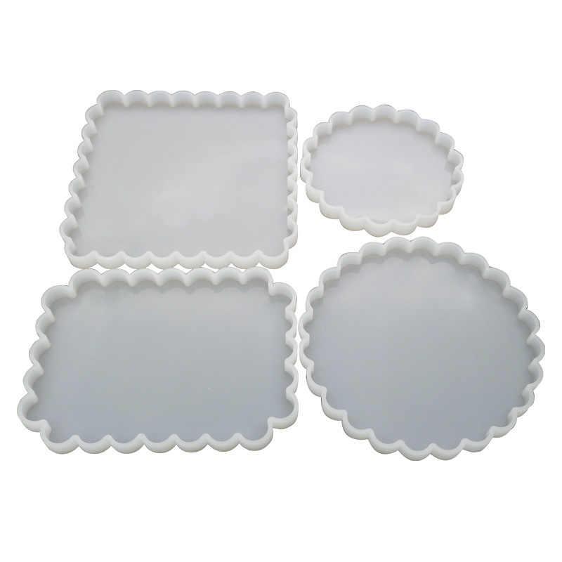 لتقوم بها بنفسك راتنجات الايبوكسي قالب مربع موجة على شكل الجدول كوستر قالب مرآة مستديرة قلادة يدوية الصنع قالب صنع المجوهرات أدوات