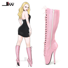 Wholesale Sexy 7 Spike High Heel BALLET Black Knee Boots