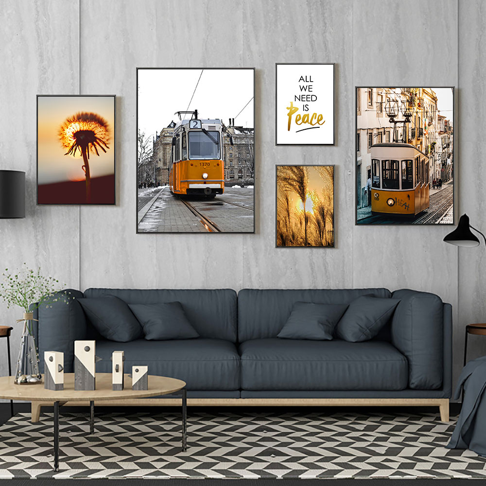 Landscape Wall Art  Canvas Painting Pictures Scenery Nature Paintings Poster Dandelion Picture Nordic Unframed