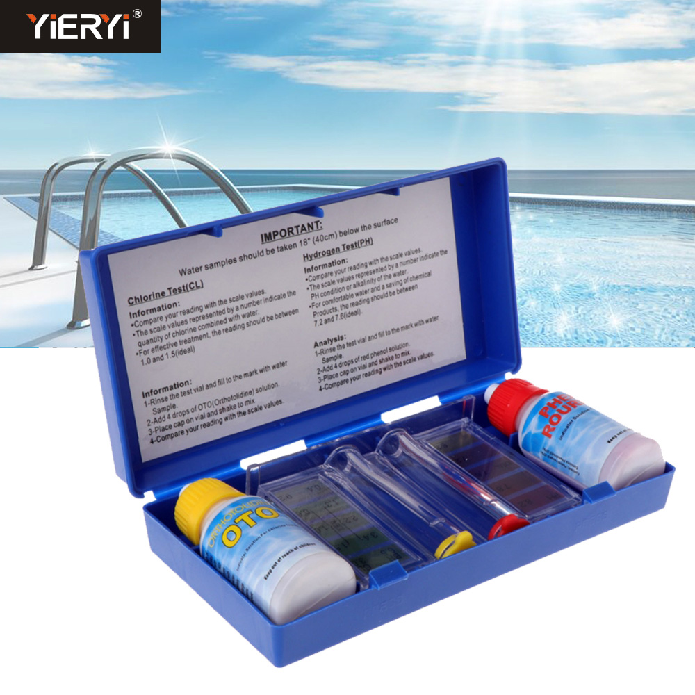 1Set PH Chlorine Water Quality Test Kit Tester Hydrotool Aquarium Tester Swimming Pool Hydroponics Aquarium Accessories|PH Meters| |  - title=