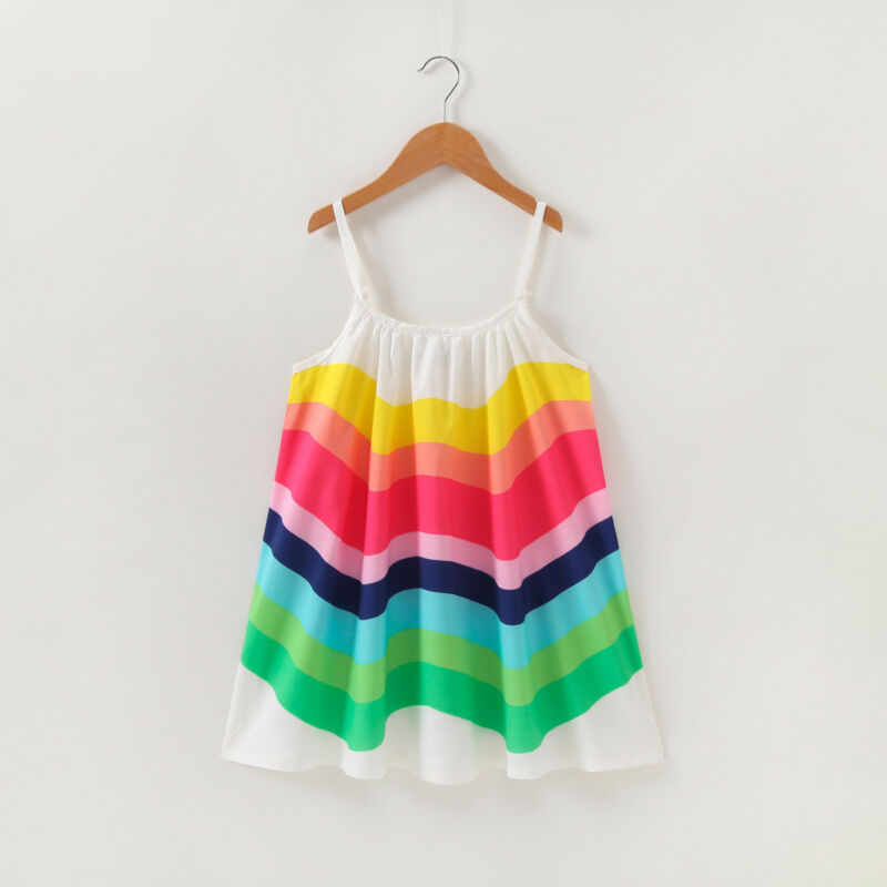 Dress For Summer Girl Children Clothing Baby Girls Sleeveless Rainbow Dresses Clothes Kids Girl Cotton Princess Dress Outfits