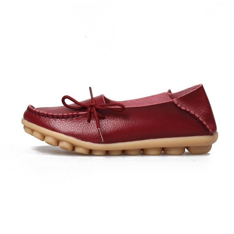 VIGOR/Женская обувь на плоской подошве; сезон весна; Женская Осенняя обувь из натуральной кожи; оксфорды; мокасины из натуральной кожи на плоской подошве; S80 - Цвет: Бордовый