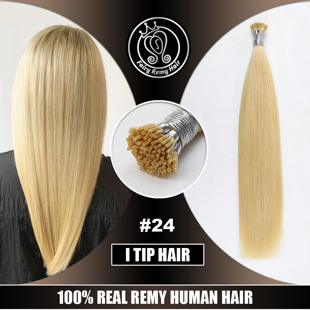 Keratin Stick Tip Remy Human Hair Extensions Straight Pre Bonded Natural Beige Blonde Color #24 0.8g/s 16