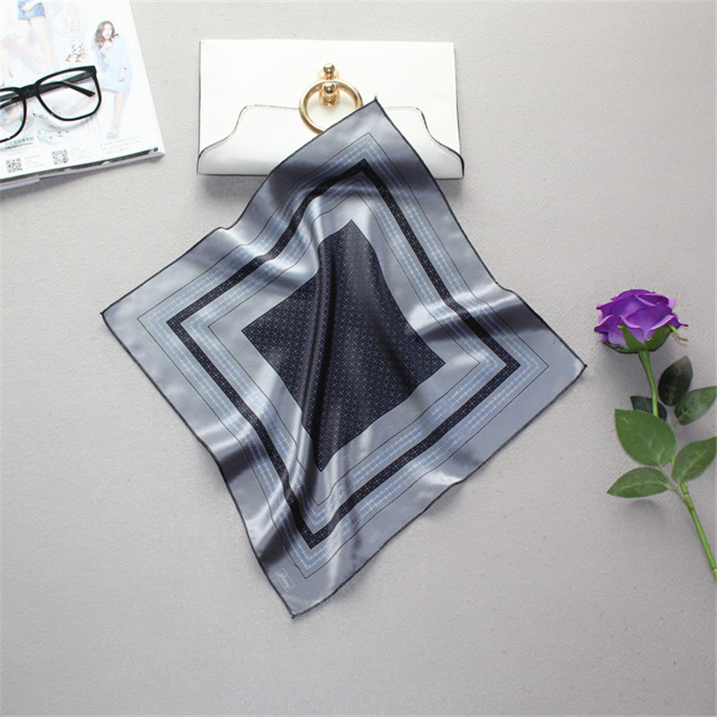 Geometric Hand Made Head Wrap Neck Scarf Wristband Silk Pure SilkHandkerchief Vintage Casual Square Handkerchief Pocket Towe