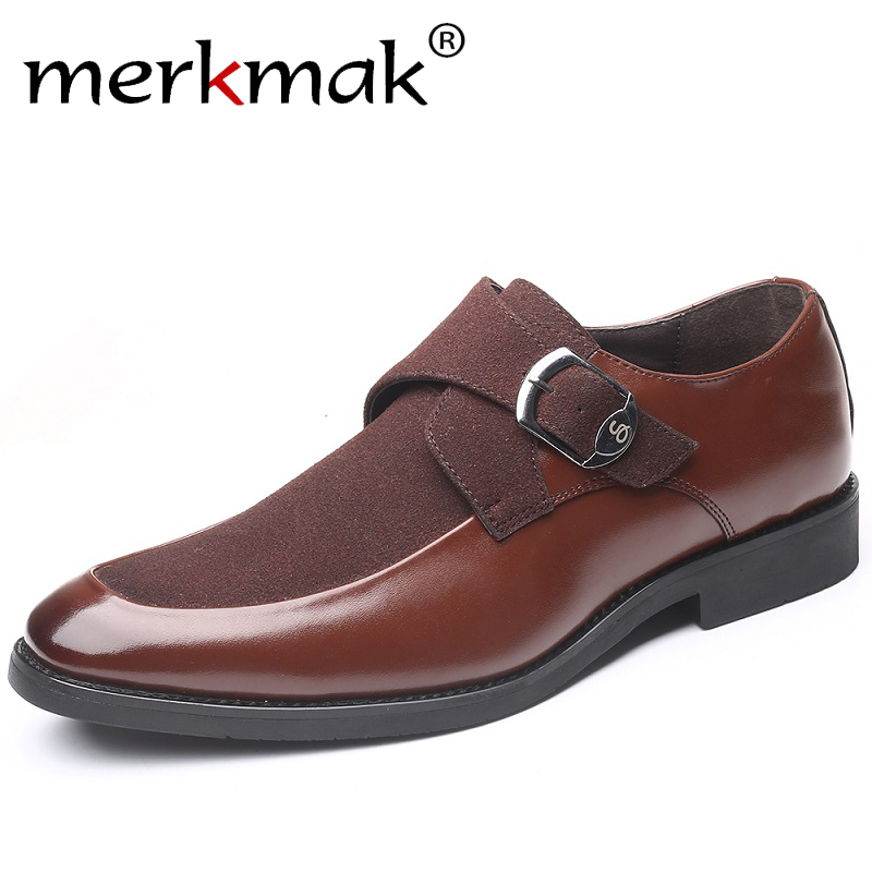 Merkmak Splice Leather Men Casual Shoes 2019 Men Loafers Moccasins Breathable Business Party Dress Shoes Big Size 37-47 Flat