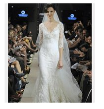 Кружевное свадебное платье Русалка с коротким рукавом и v образным