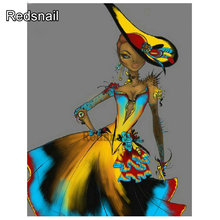 diy 5d diamond Painting African girl square round 3d rhinestones embroidery Mosaic cartoon girl Cross Stitch home decor TT825(China)