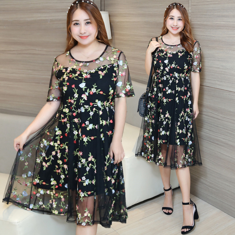 Manufacturers Direct Supply A Generation Of Fat Large GIRL'S Plus-sized WOMEN'S Dress Embroidered Full Body Dress Long Skirts Wh