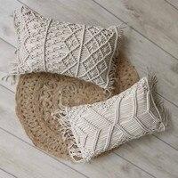 1 funda de almohada nórdica tejida a mano 100% de algodón y lino  funda de almohada Bohemia geométrica de 30x45cm