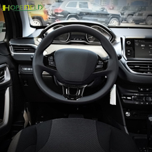 พวงมาลัย Trim ปุ่มสติกเกอร์โลโก้ป้ายสัญลักษณ์ตกแต่งภายในอุปกรณ์เสริมสำหรับ Peugeot 2008 208 2014 2018