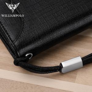Image 5 - Мужской кожаный кошелек WILLIAMPOLO, многофункциональный кошелек на молнии с защитой от кражи, 2019