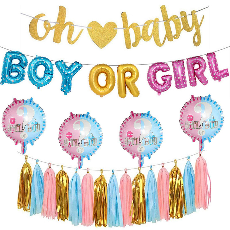 Baby Shower Gold Foil Letter Balloons Boy Or Girl Gender Reveal Party Decorations Banner Supplies Pink Blue Tassels