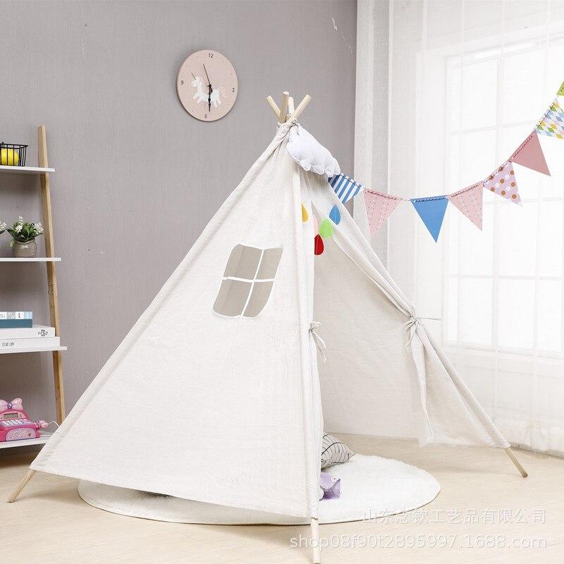 Tente en toile de Support en bois, de Style nordique, tente pour enfants, maison de jeu, toit lumineux, Tipi, chambre de princesse, tente en canevas pour enfants, cadeau pour enfants