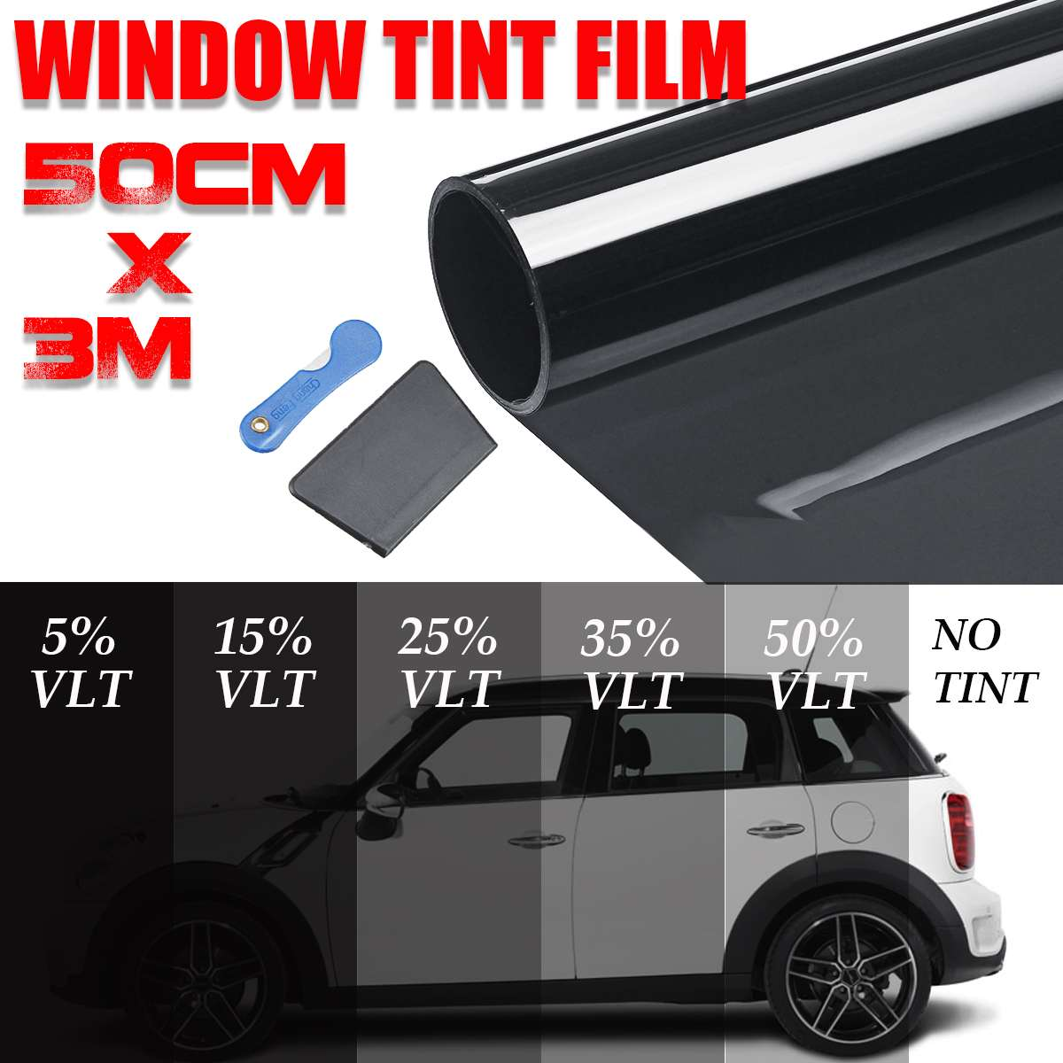 Roll Solar Car-Window-Tint Films Tinting-Film Uv-Protection-Sticker VLT Black NEW 300x50cm