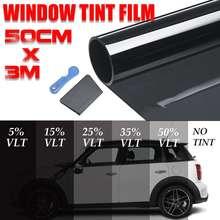 Новинка 300x50 см черная Автомобильная оконная Тонирующая пленка стекло VLT 5%-50% стеклянная Тонирующая пленка рулон Солнечная защита от ультрафиолетовых лучей клейкие пленки