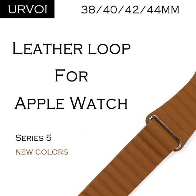 Bucle de cuero URVOI para apple watch series 5 4 3 2 1 correa para iwatch 40 44mm banda de cuero PU suave cómoda con hebilla magnética