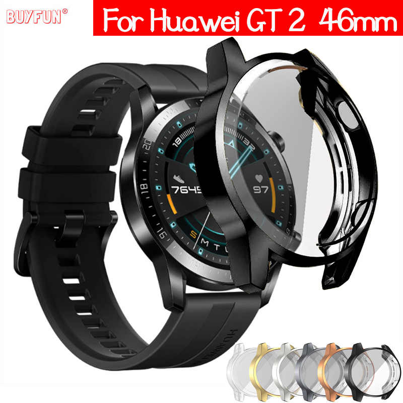 TPU Case for <font><b>Huawei</b></font> <font><b>watch</b></font> <font><b>GT</b></font> <font><b>2</b></font> 46mm strap band <font><b>Watch</b></font> <font><b>GT</b></font> / GT2 46 mm soft Plated All-Around Screen Protector cover bumper Cases image