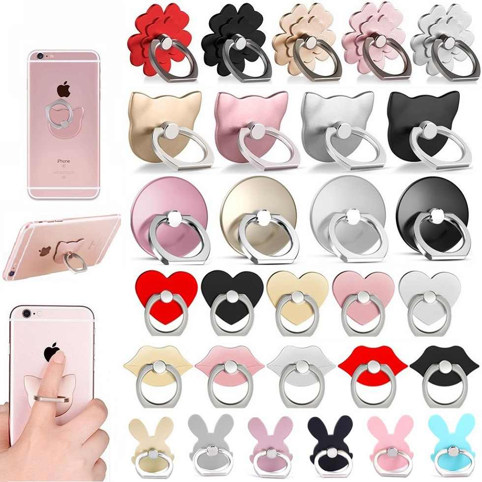 Universal 360 Finger Ring Grip Mobile Phone Stand Holder Mount Support for IPhone Xiaomi Huawei Samsung LG HTC Bunny Cat Heart