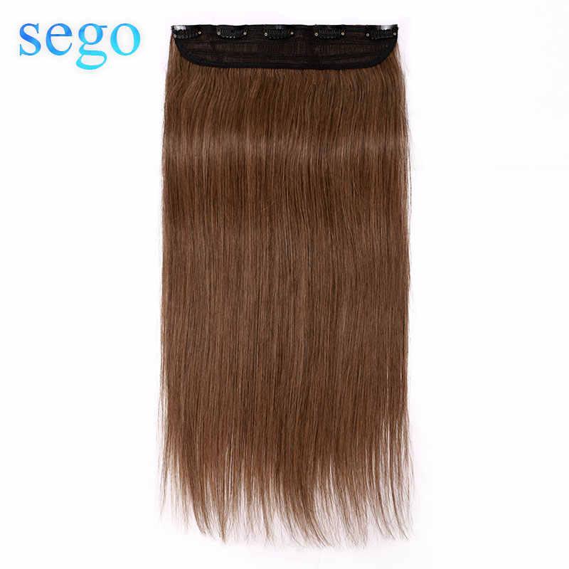 """Sego 16 """"-22"""" 80g-100g grampo em um pedaço cabelo brasileiro clipes 1 p/w 5 clipes não remy parte do cabelo grampo reto extensão do cabelo humano"""