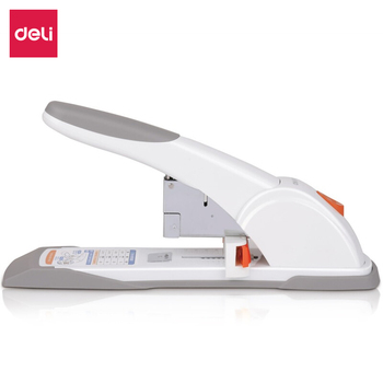 Deli 80 Pages with Sliding Ruler Heavy-Duty Stapler Suitable for 23/6 23/8  23/10 23/12 23/13 Staples White