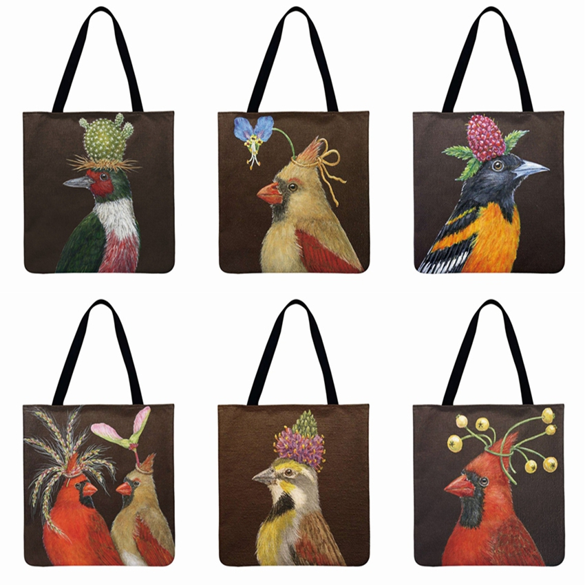 Christmas Bird Printing Tote Bag Shoulder Bag Women Beach Bag Linen Febric Casual Tote Foldable Shopping Bag Women Clutch Bag