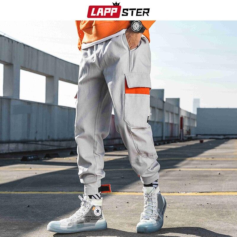 LAPPSTER Harajuku Cargo Pants Men 2019 Overalls Mens Streetwear Hip Hop Sweatpants Autumn Joggers Fashions Casual Track Pants