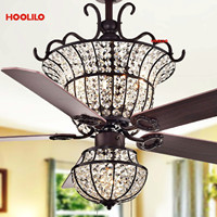 Luxurious Crystal Ceiling Fan+lamp With Light Charla 4 light Crystal 5 blade 52 inch Optional Remote ventilador de